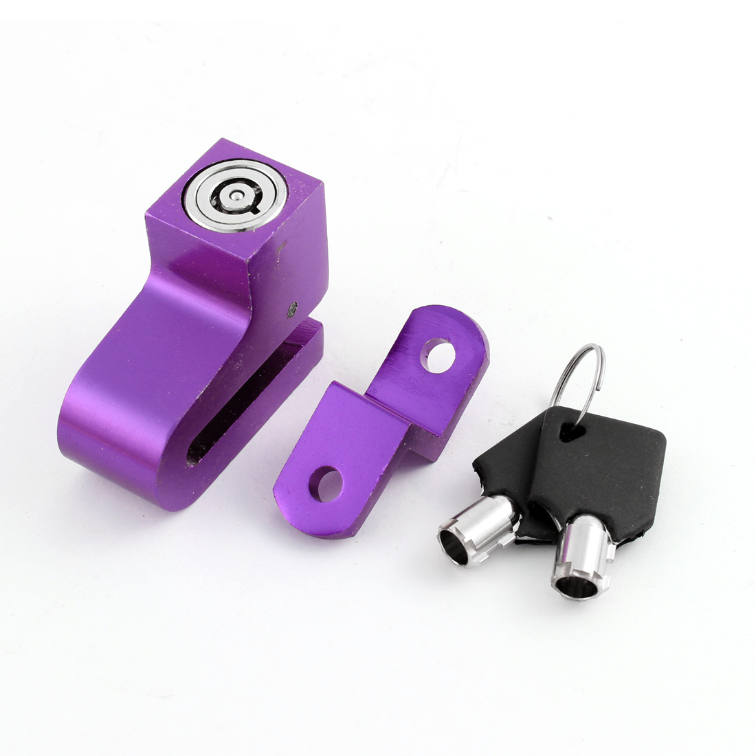 Motorcycle Bike Bicycle Purple Anti-theft Disk Disc Brake Lock w Keys