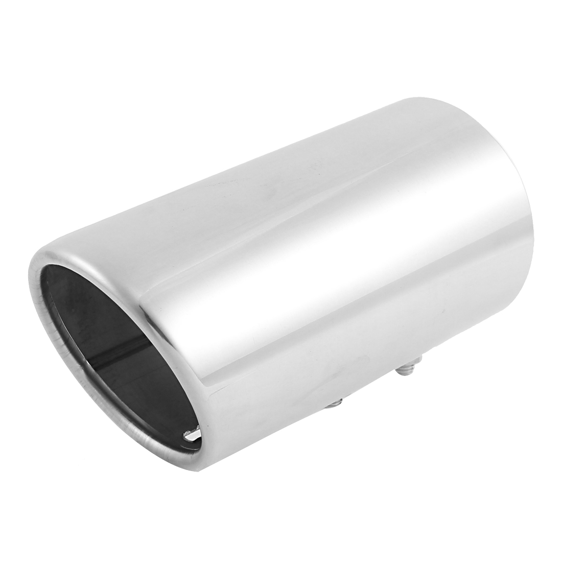 "Car Universal Sliver Tone Oval Slant Cut Tip Exhaust Muffler 3"" Inlet Dia"