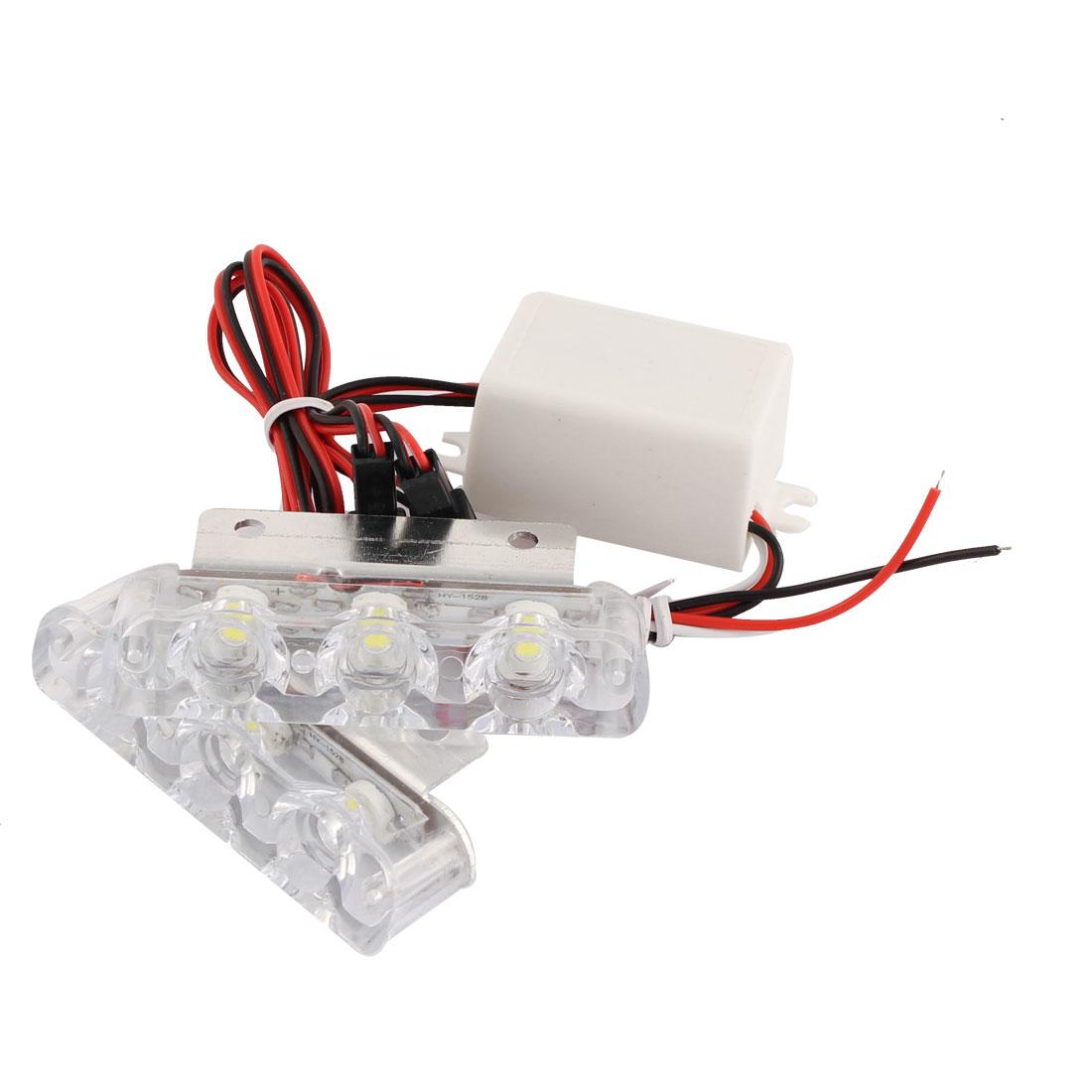 Pair White 6 LED Car DRL Daytime Running Driving Light Warning Flash Lamp DC 12V