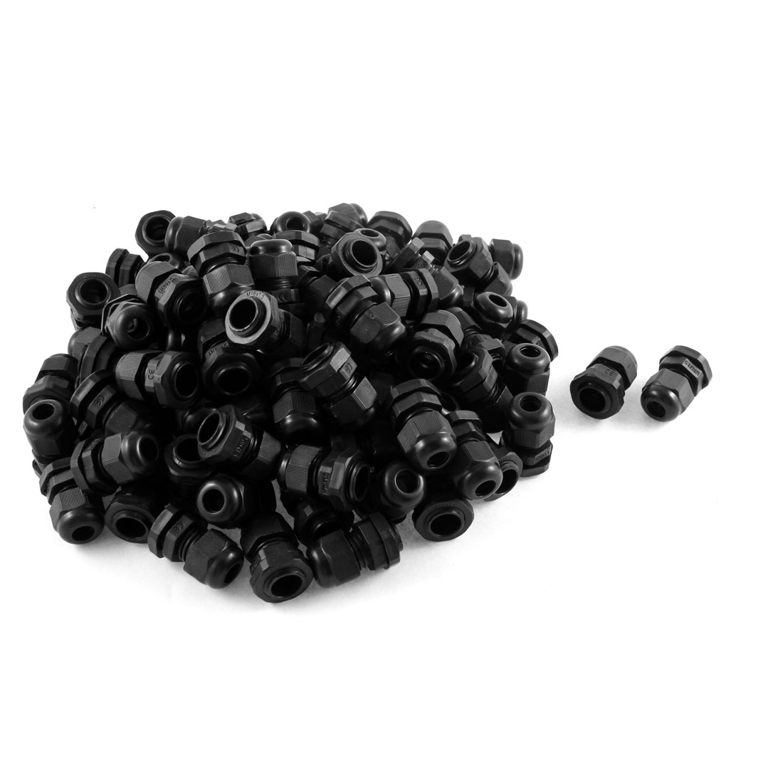 100 Pcs Black Plastic Waterproof Cable Glands Connectors M16 x 1.5
