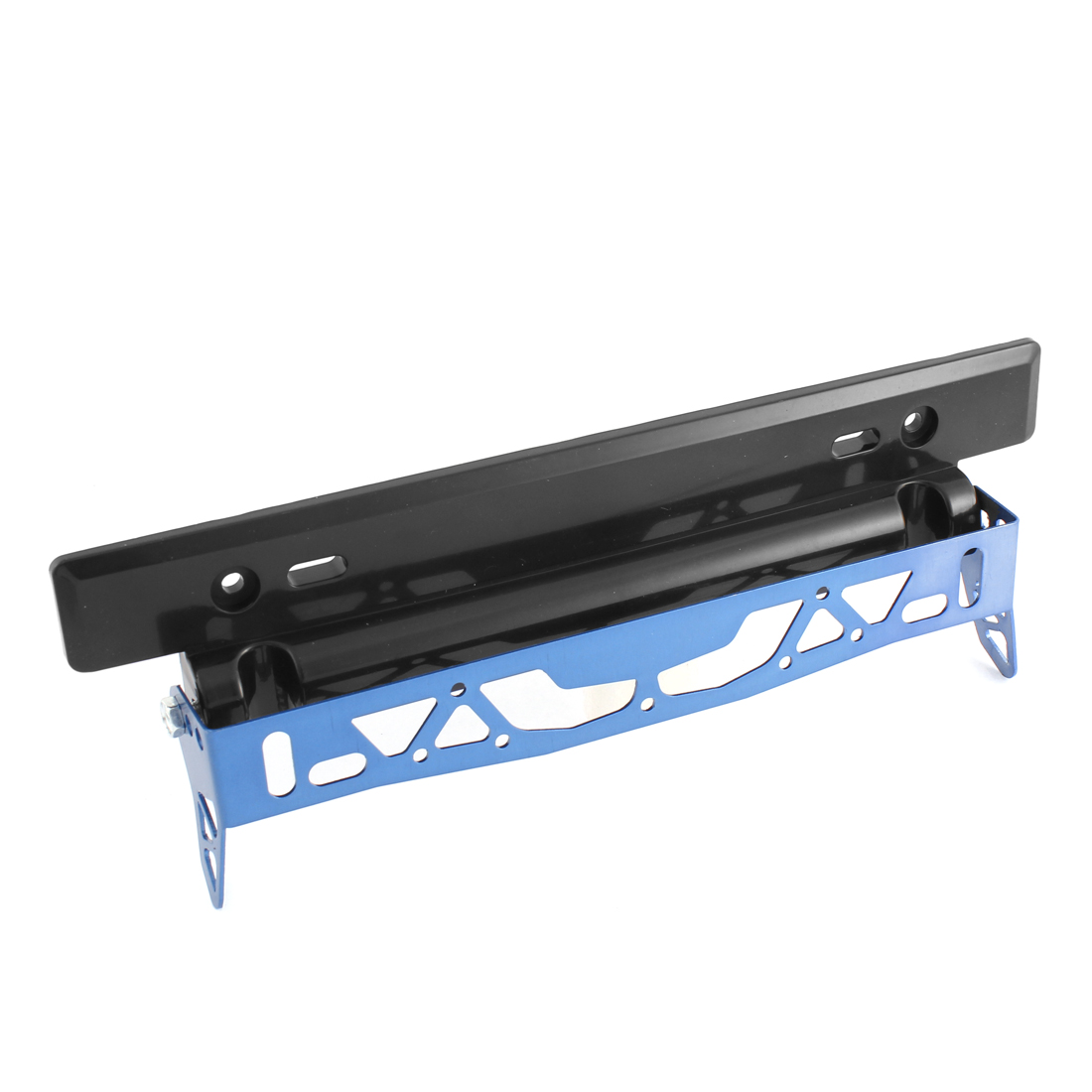 Blue Black Metal Plastic Adjustable Car License Plate Frame Bracket Holder