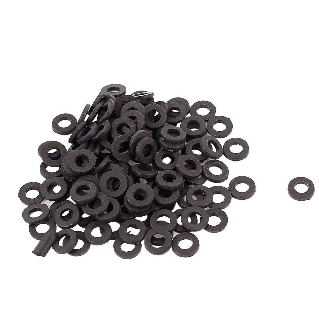 100pcs Round Insulation Nylon Flat Spacer Washer Gasket Ring 3 x 6 x 1mm Black