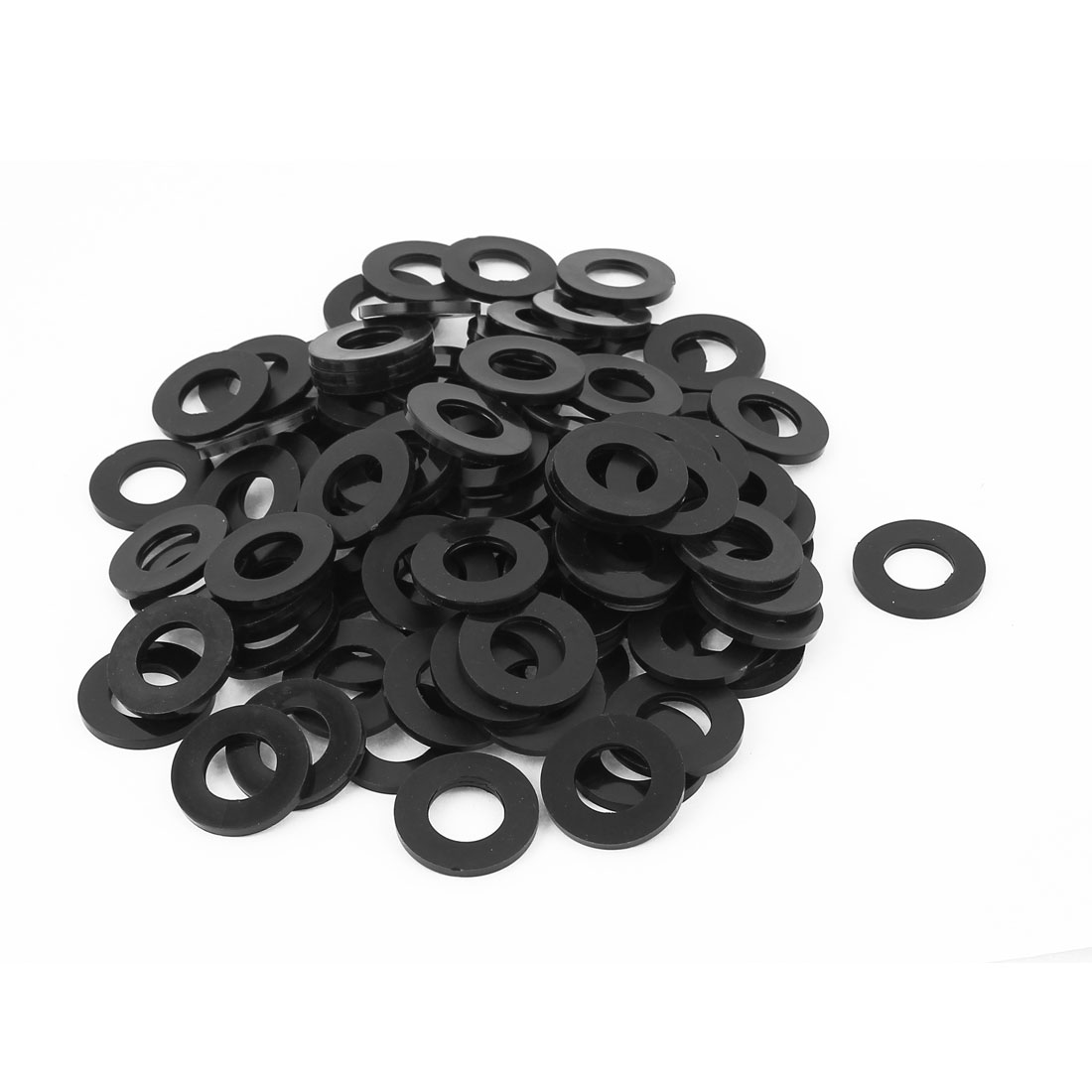 100pcs Round Insulation Nylon Flat Spacer Washer Gasket Ring 14 x 27 x 2.5mm Black