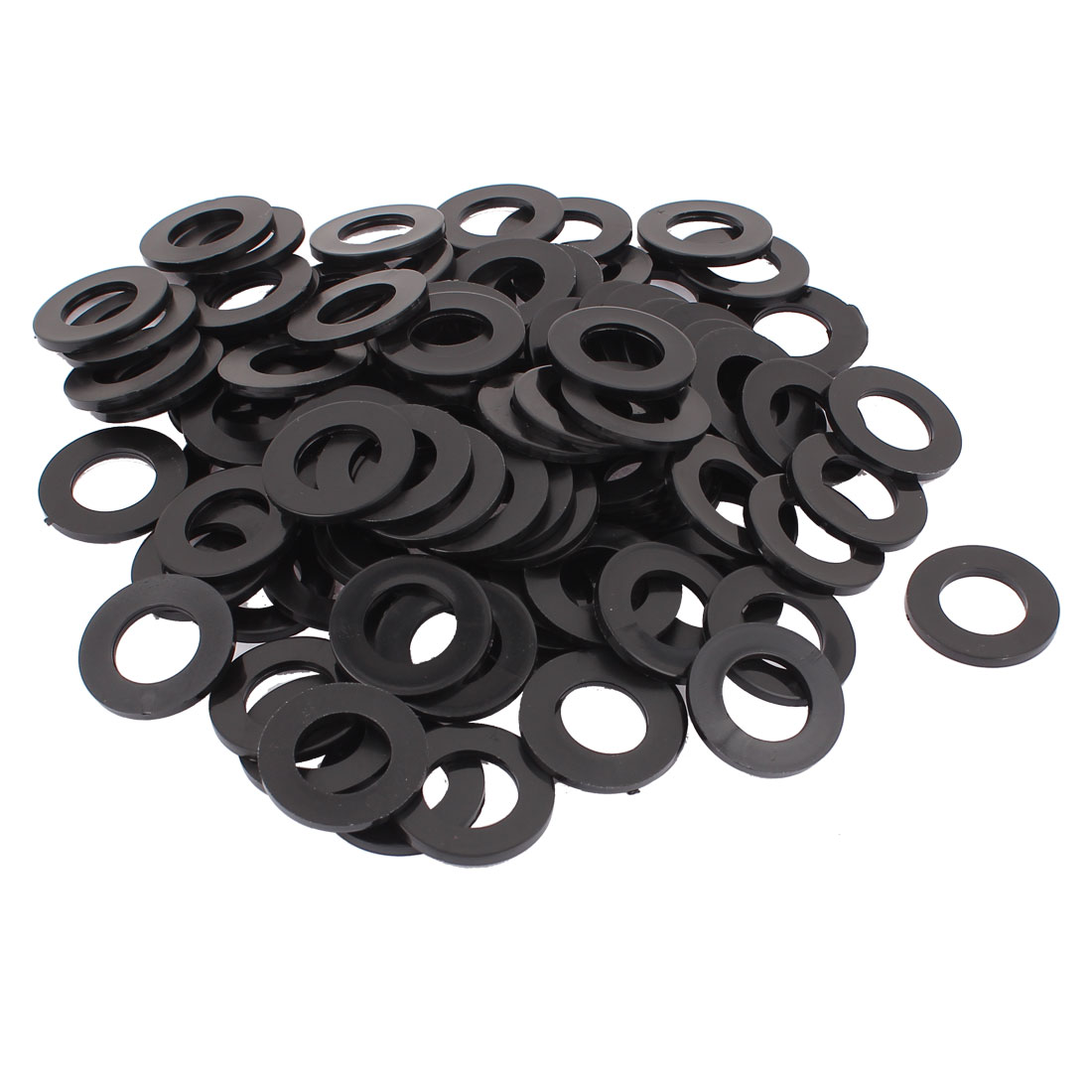 100pcs Round Insulation Nylon Flat Spacer Washer Gasket Ring 20 x 36 x 3mm Black