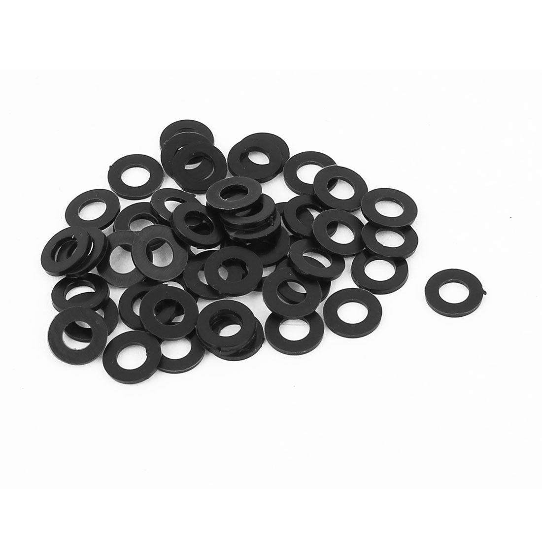 50pcs Round Insulation Nylon Flat Spacer Washer Gasket Ring 5 x 10 x 1mm Black