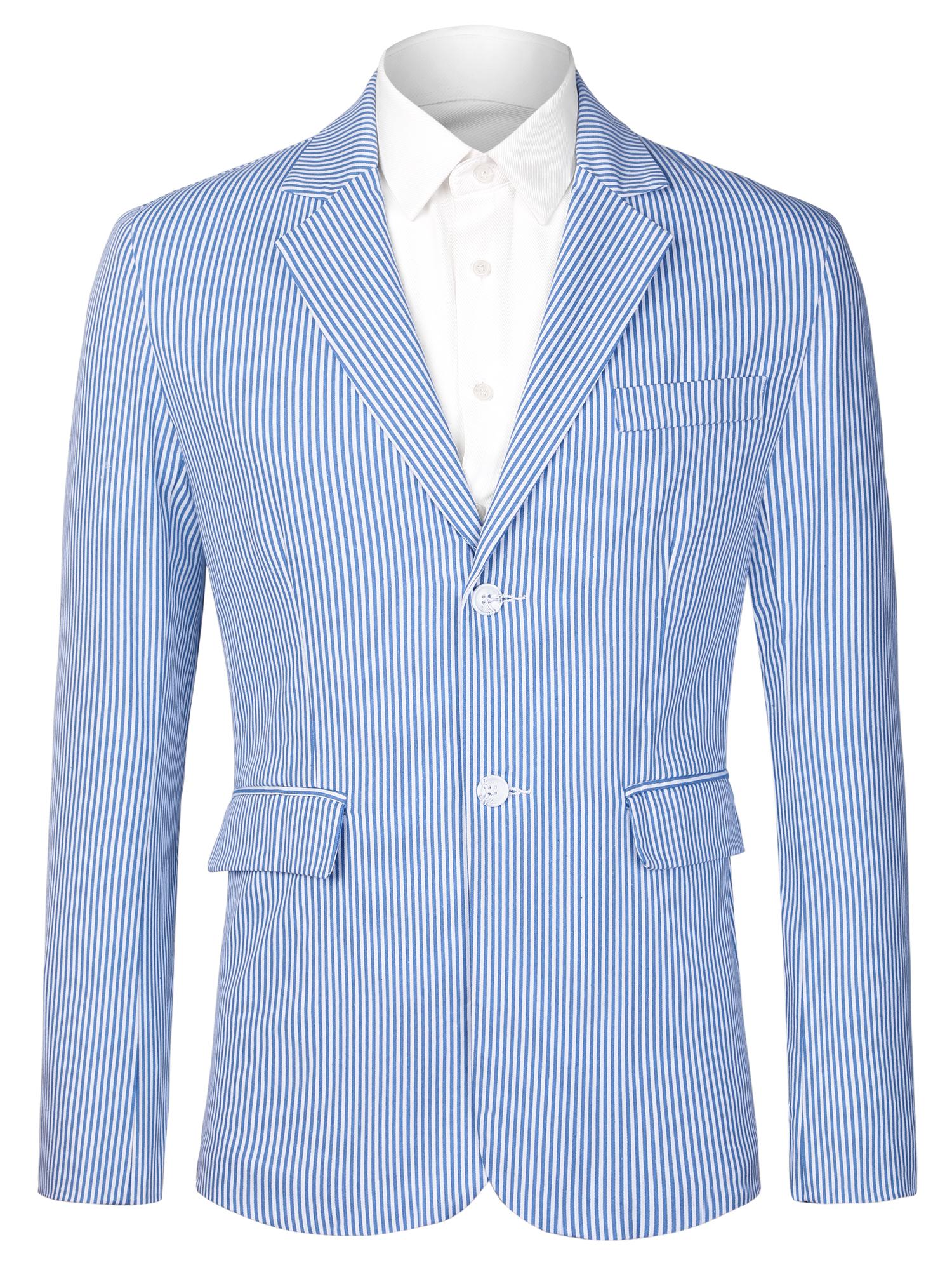 Men Vertical Stripes Notched Lapel Flap Pockets Front Blazer Blue White S