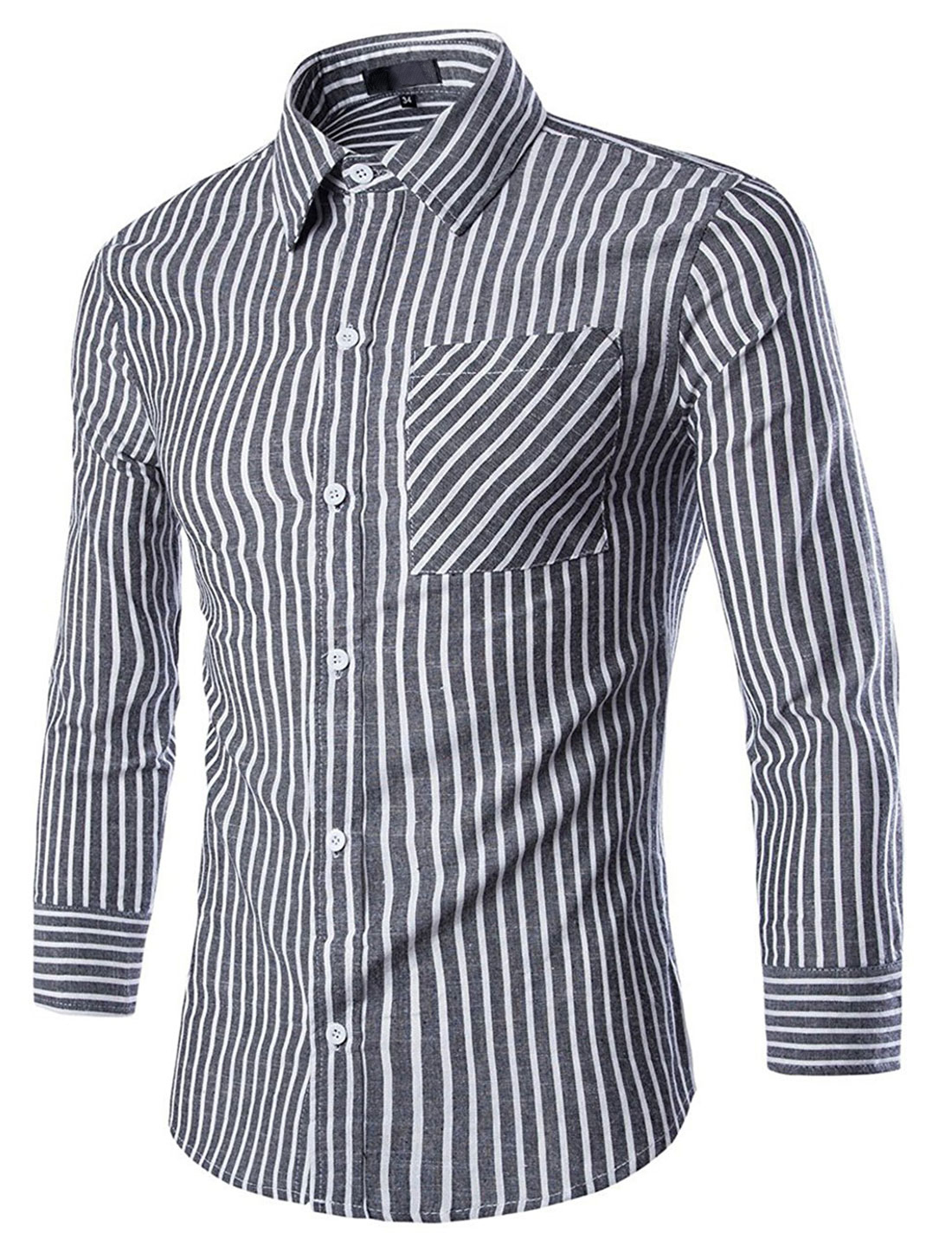 Men Patch Pocket Long-sleeved Striped Casual Shirts Gray White M