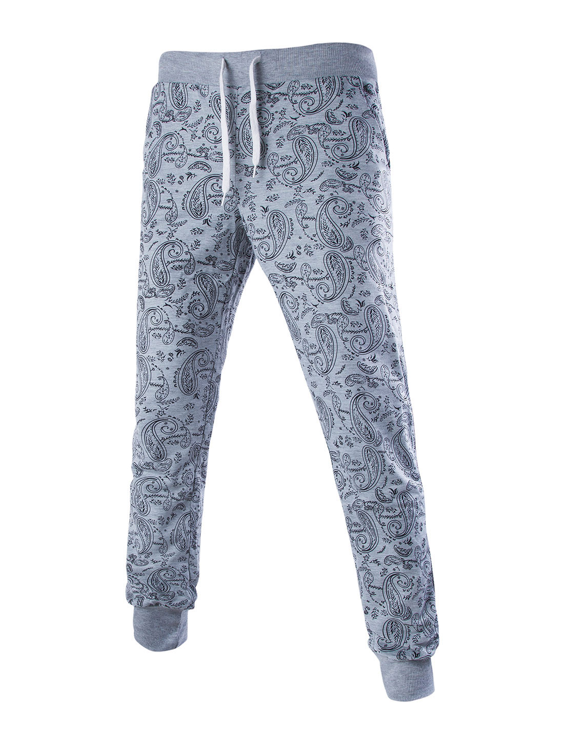 Men Pockets Paisleys Drawstring Waist Casual Trousers Light Gray W32