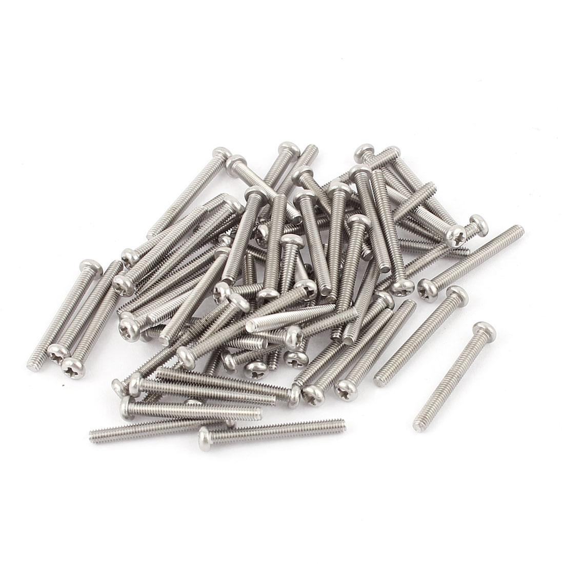 60pcs 304 Stainless Steel Crosshead Phillips Pan Head Screws Bolt M2.5 x 22mm