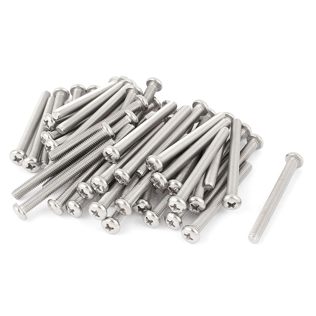 M5 x 50mm 304 Stainless Steel Crosshead Phillips Round Head Screws Bolt 60pcs