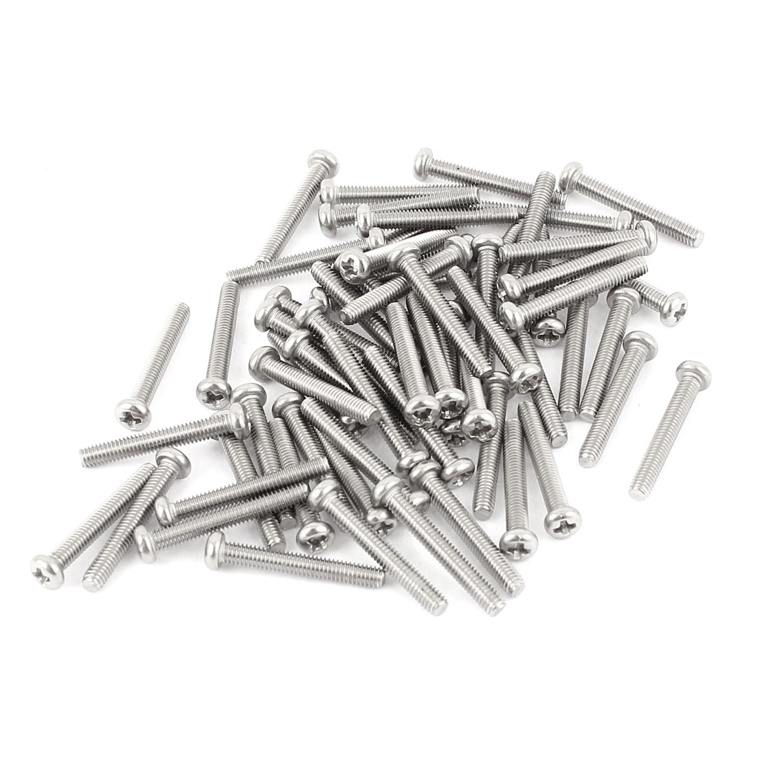 M2.5 x 18mm 304 Stainless Steel Crosshead Phillips Round Head Screws Bolt 60pcs