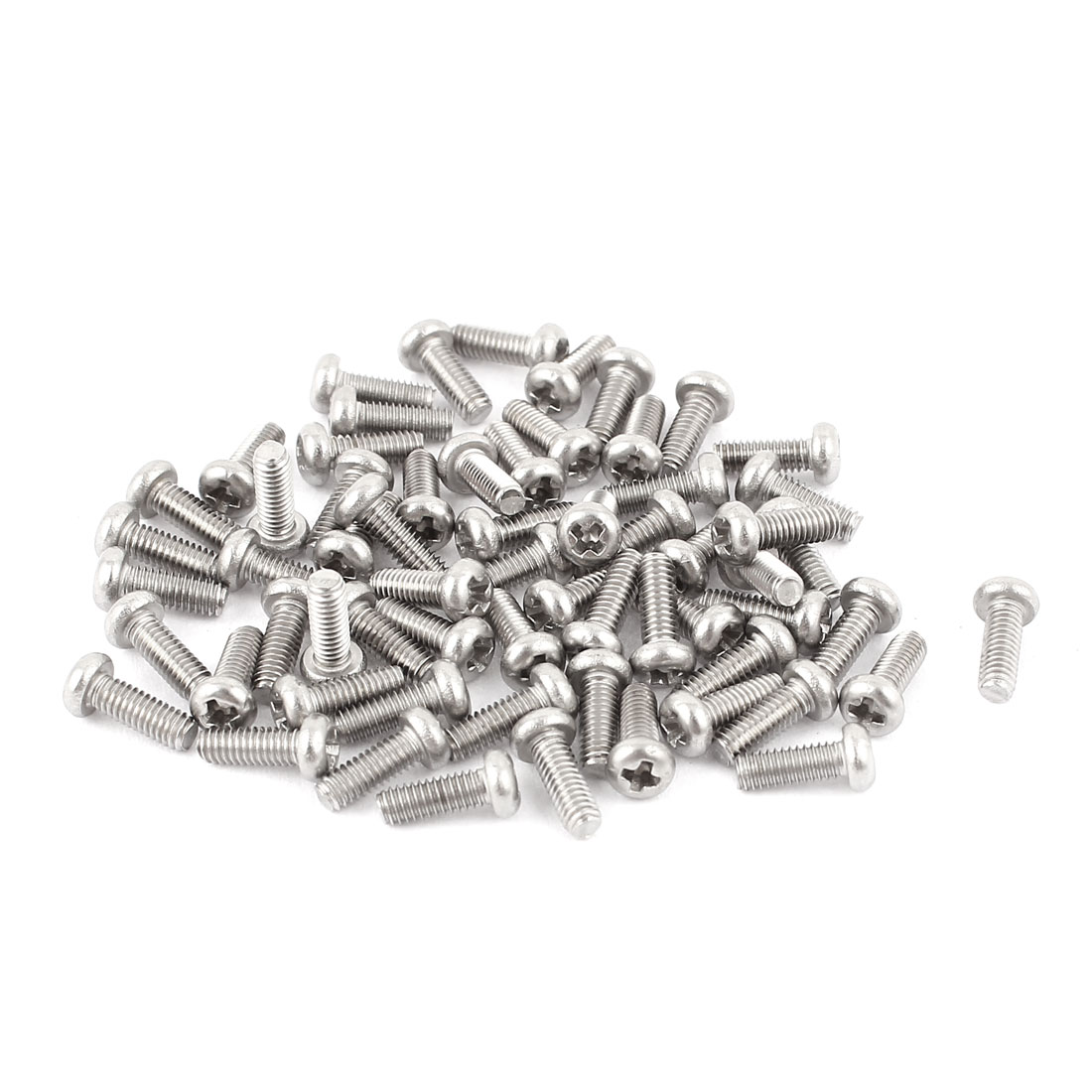 M2.5 x 7mm 304 Stainless Steel Crosshead Phillips Round Head Screws Bolt 60pcs