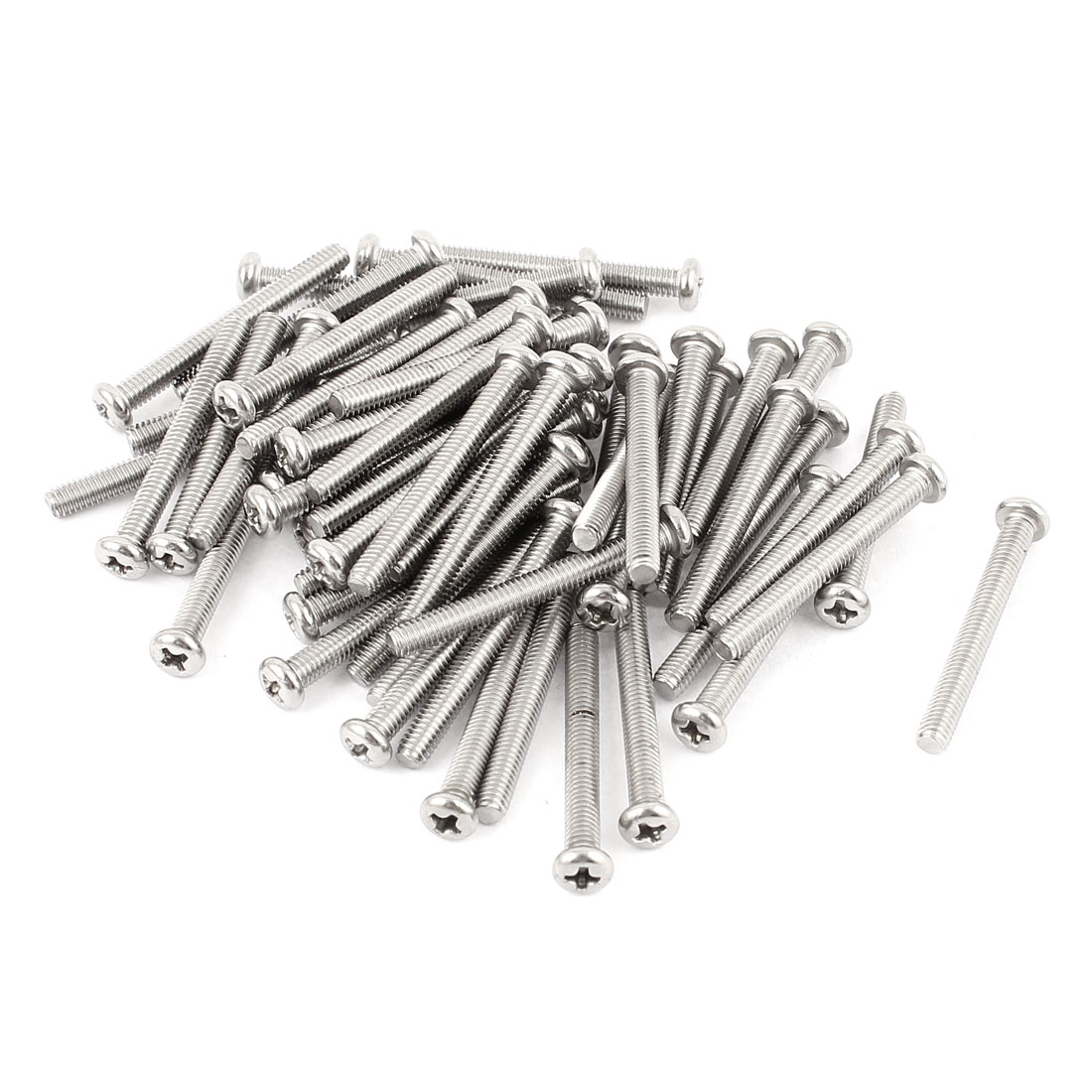 M4 x 35mm 304 Stainless Steel Crosshead Phillips Round Head Screws Bolt 60pcs