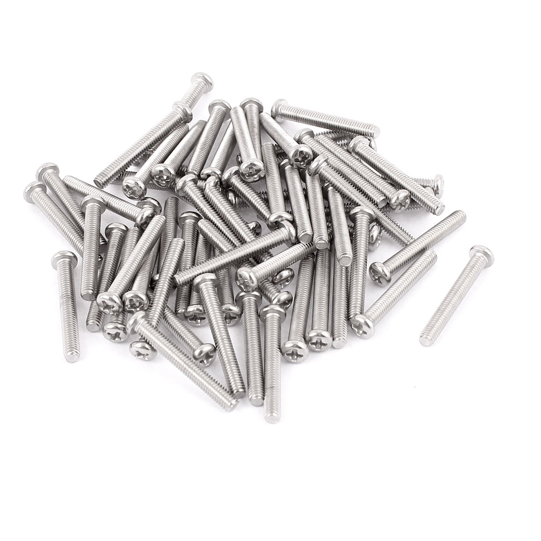 M4 x 30mm 304 Stainless Steel Crosshead Phillips Round Head Screws Bolts 60pcs
