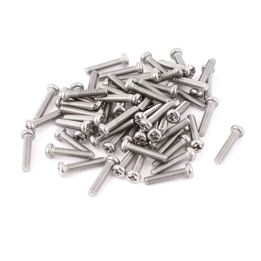M2.5 x 12mm 304 Stainless Steel Crosshead Phillips Pan Head Screws Bolt 60pcs