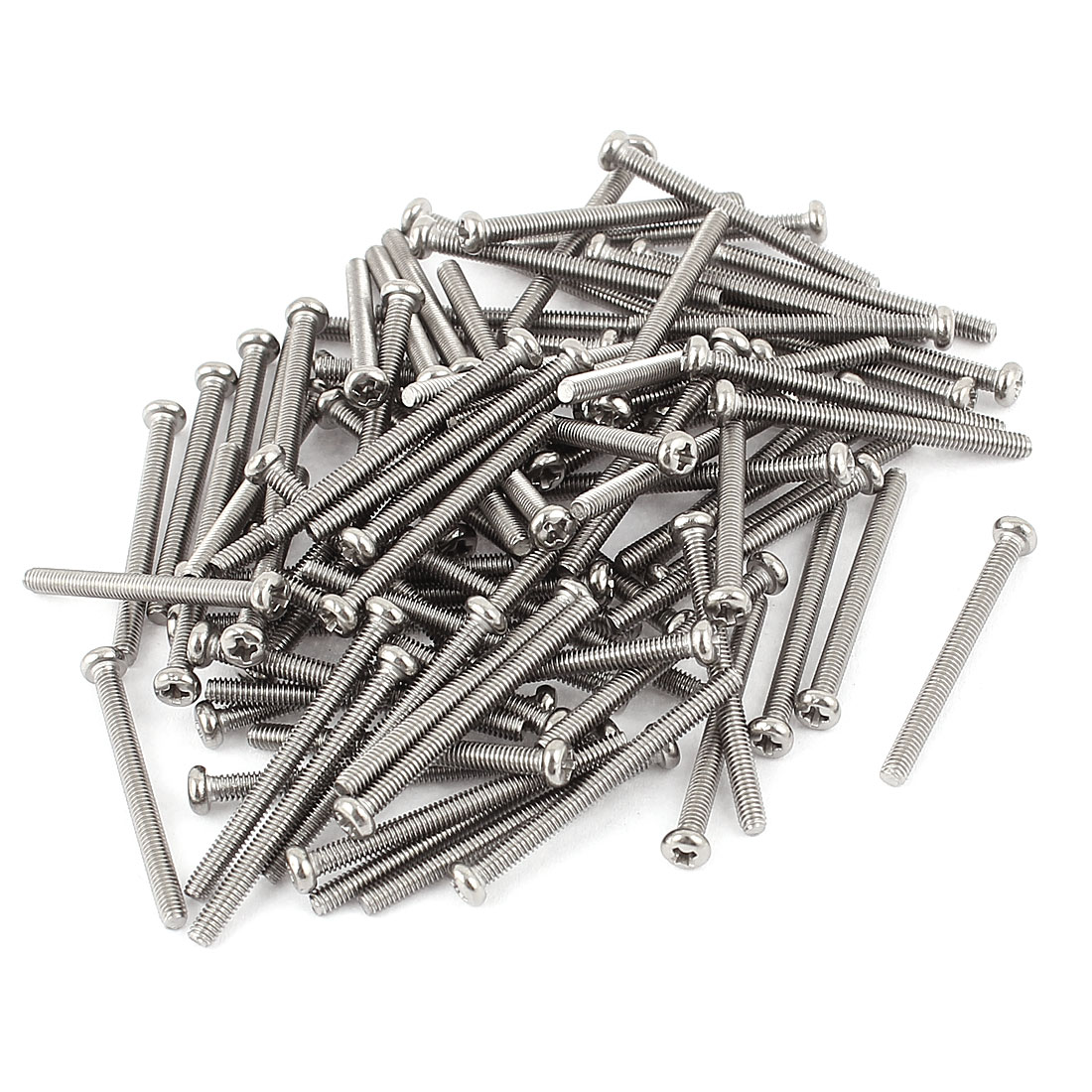M2.5 x 28mm 304 Stainless Steel Crosshead Phillips Round Head Screws Bolt 60pcs