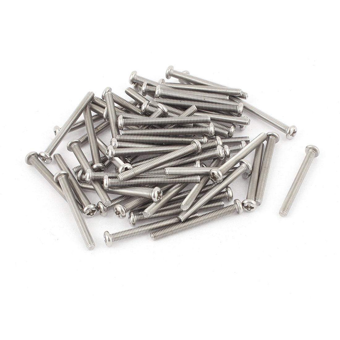 M3 x 30mm 304 Stainless Steel Crosshead Phillips Pan Head Screws Bolt 60pcs