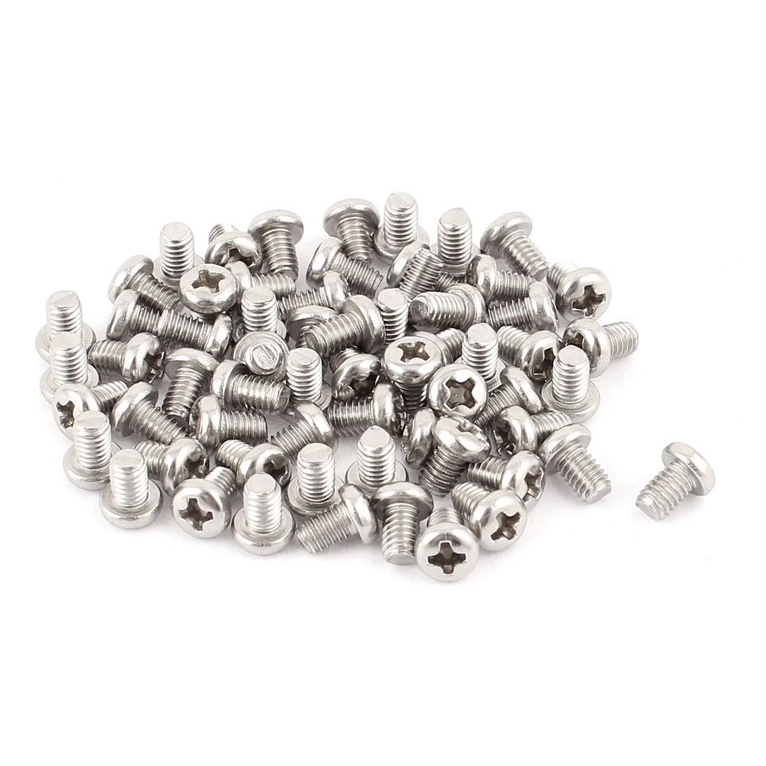 M4 x 6mm 304 Stainless Steel Crosshead Phillips Pan Head Screws Bolt 60pcs