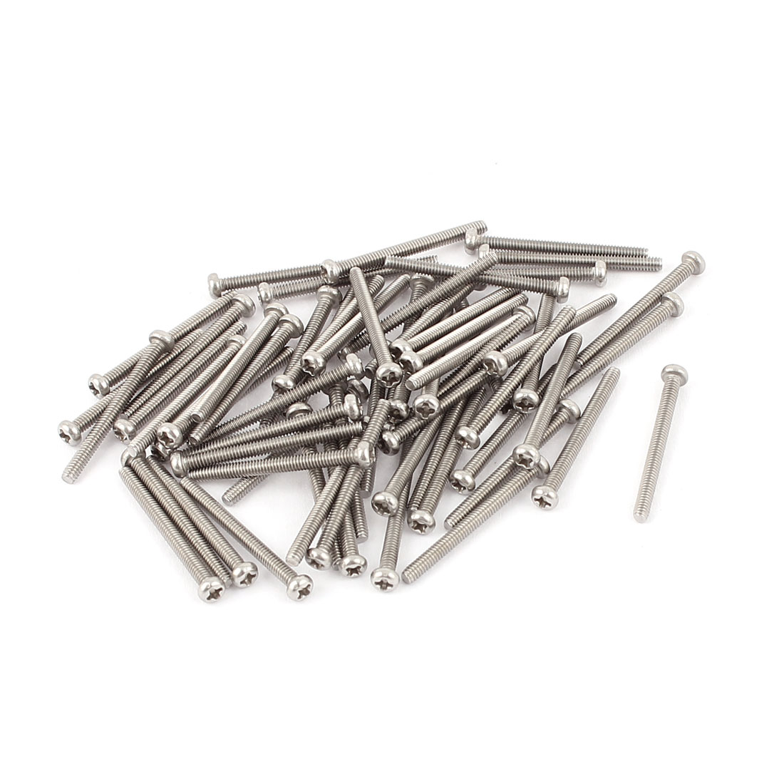 M2 x 22mm 304 Stainless Steel Crosshead Phillips Round Head Screws Bolt 60pcs