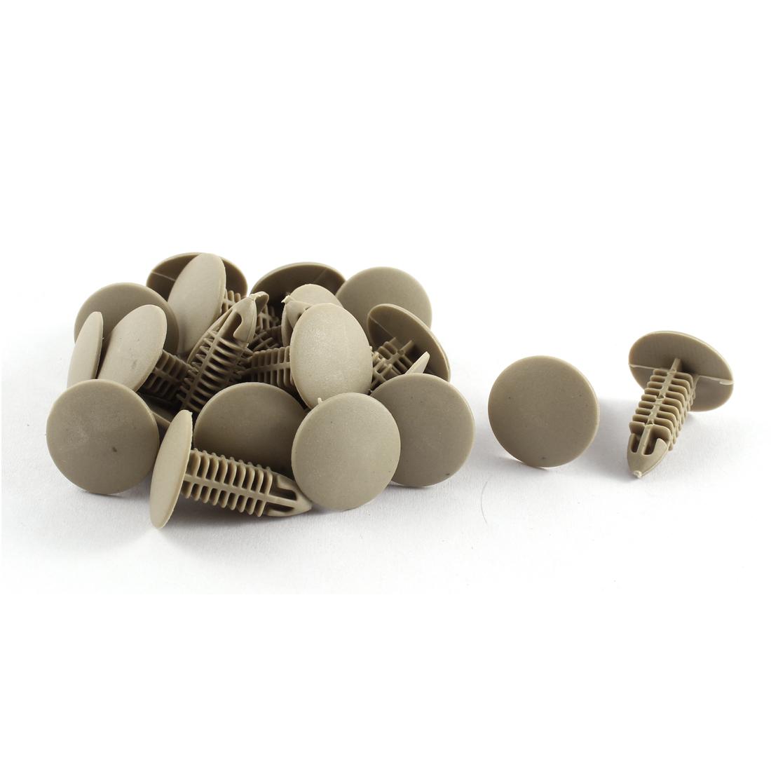20 Pcs Khaki Plastic Splash Guard Moulding Rivet Clips 6mm x 17mm x 20mm