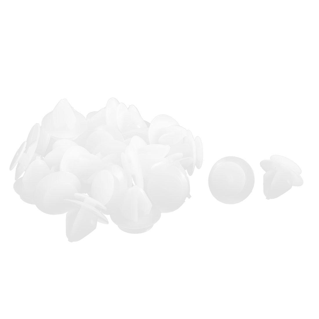30 Pcs White Plastic Splash Guard Fastener Rivet Clips 11mm x 12mm x 17mm