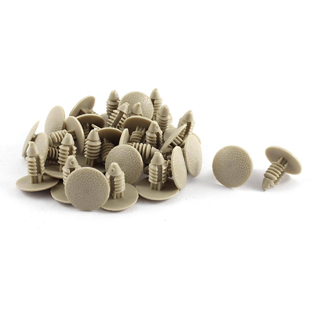 30 Pcs Khaki Plastic Splash Guard Moulding Rivet Clips 7mm x 16mm x 17mm