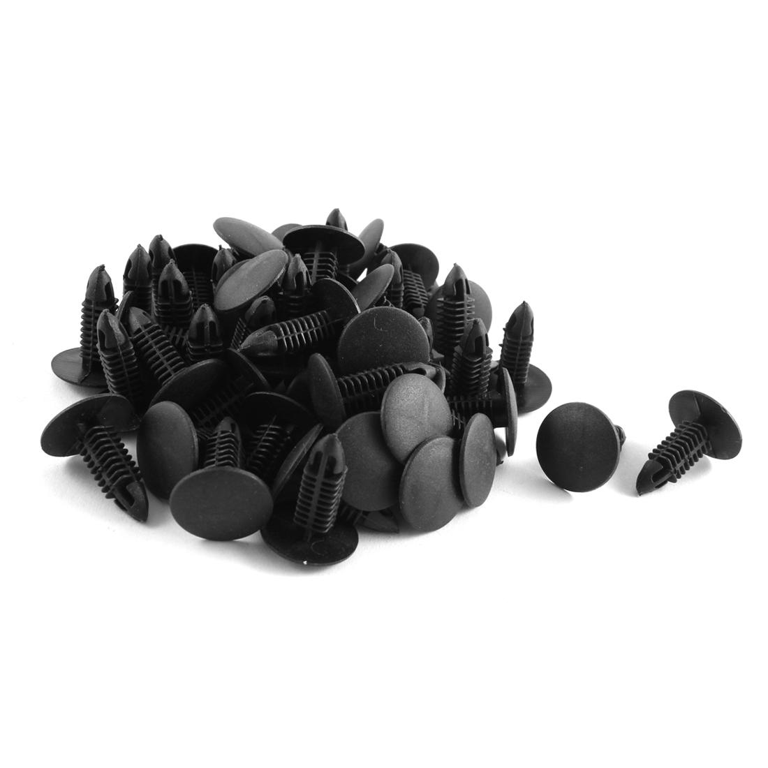 50 Pcs Black Plastic Splash Guard Fastener Rivet Clips 6mm x 17mm x 21mm