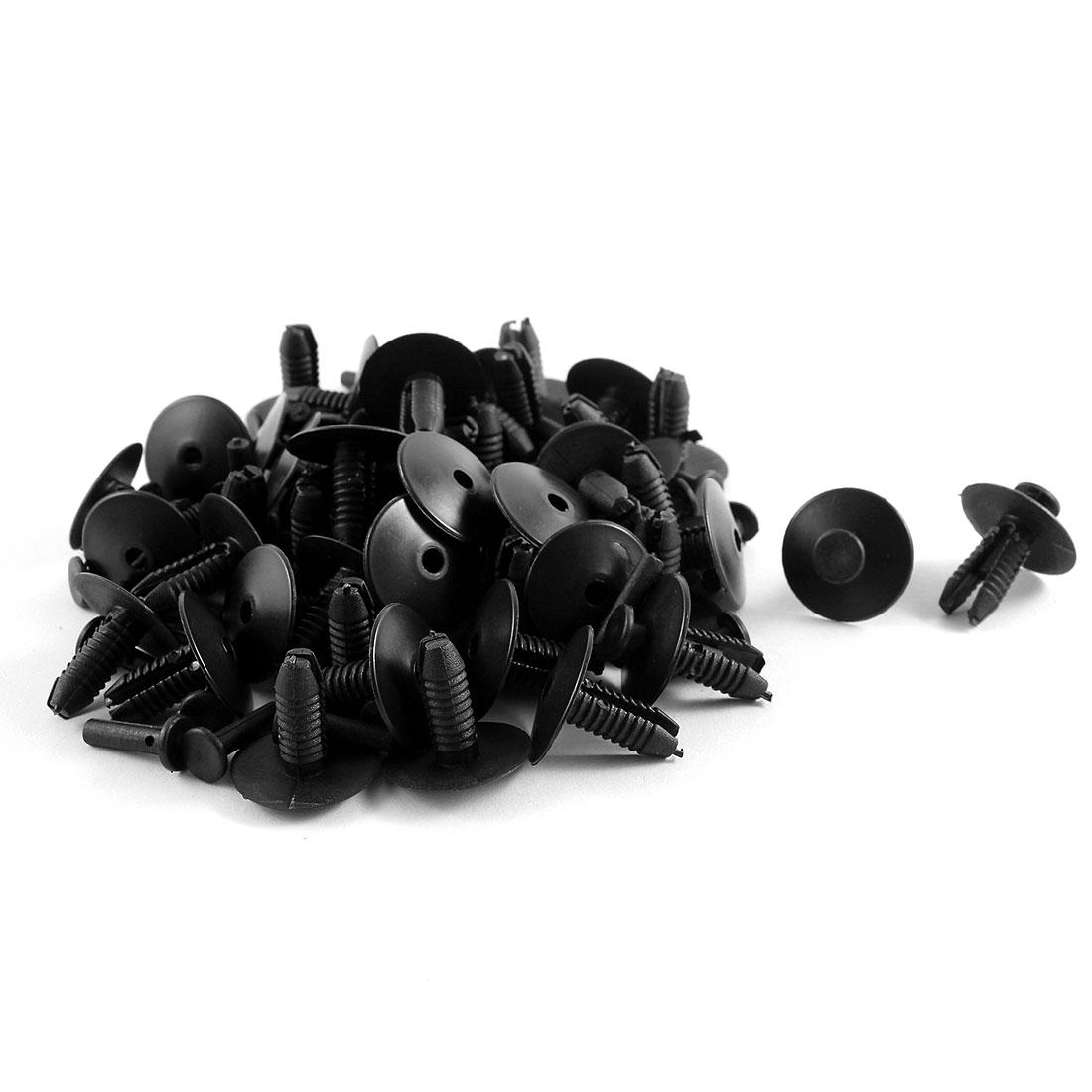 50 Pcs Black Plastic Splash Guard Fastener Rivet Clips 7mm x 15mm x 19mm