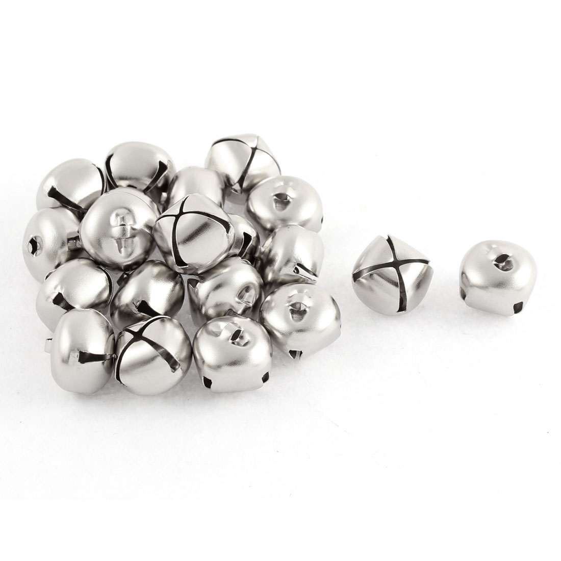 Metal Hollow Out Round Christmas Jingle Bells 0.24 Inch Sliver Tone 20pcs