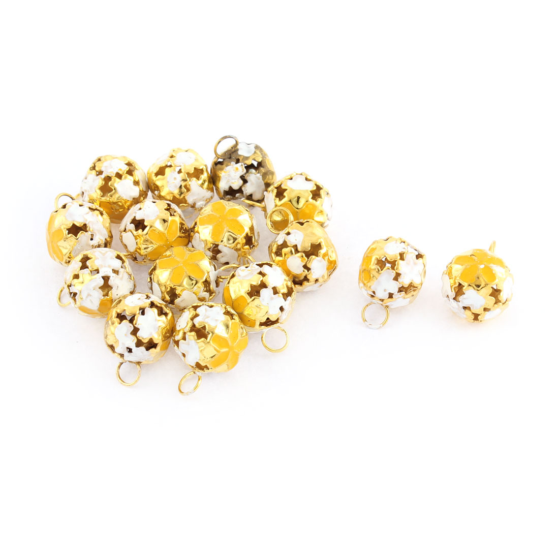 Yellow Hollow Out Flower Decor Christmas Tree Jingle Bell 0.24 Inch 15Pcs
