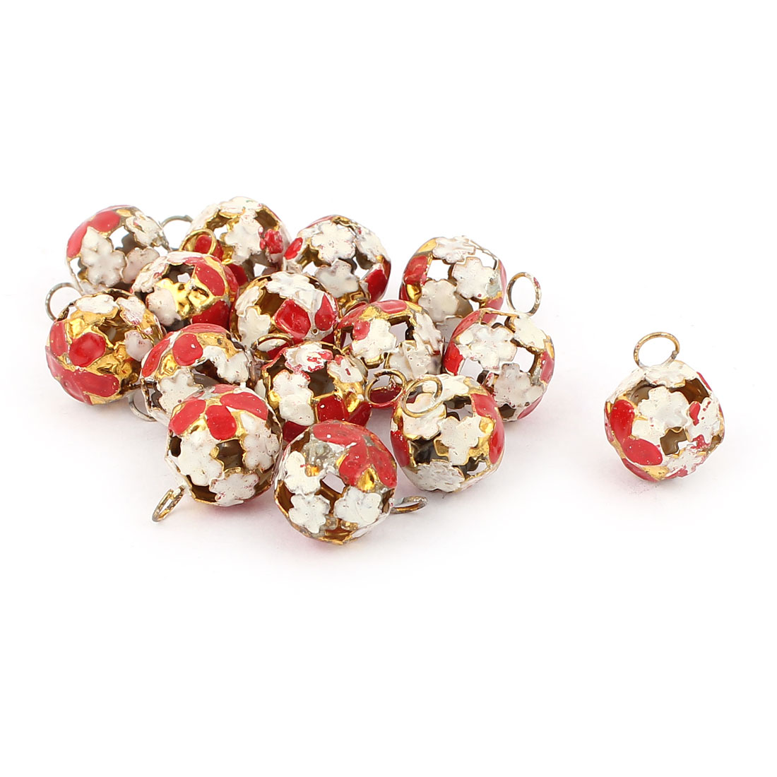 Metal Hollow Out Round Christmas Jingle Bells 0.24 Inch Red 15pcs