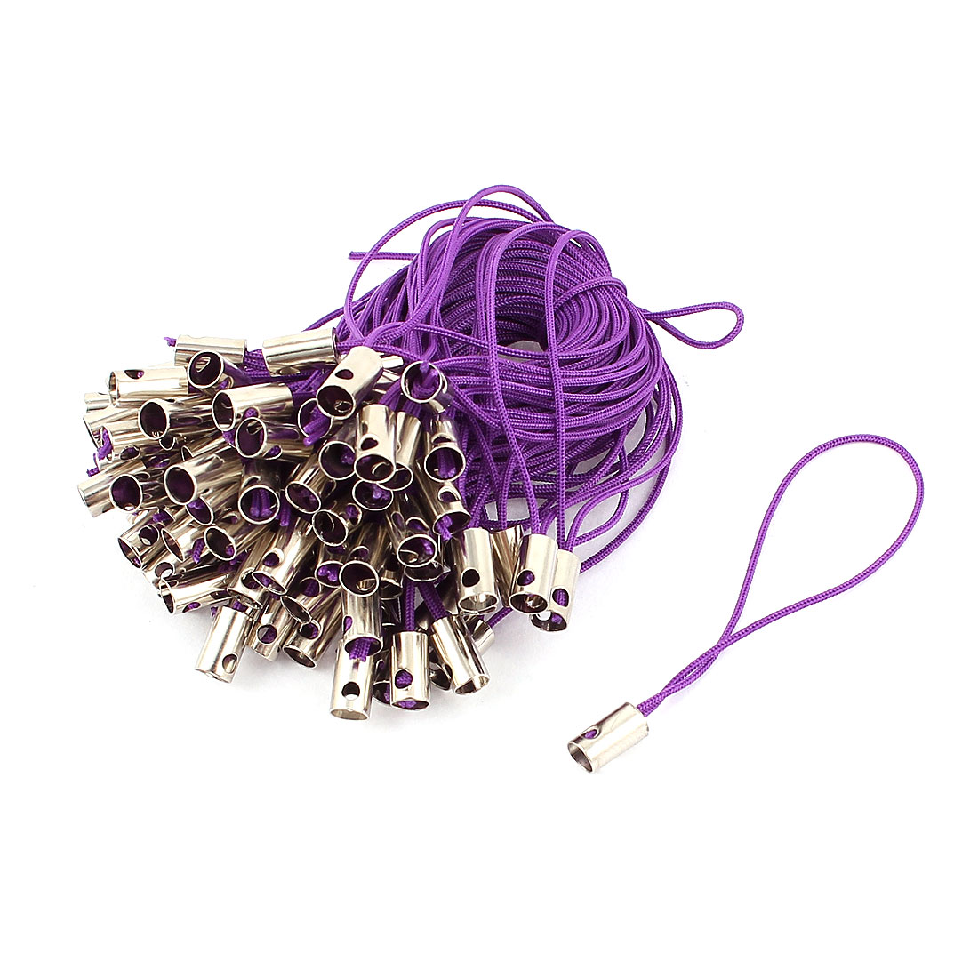 100 Pcs Purple Nylon Strap Lanyard 6cm for MP3 MP4 Camera Mobile Phone