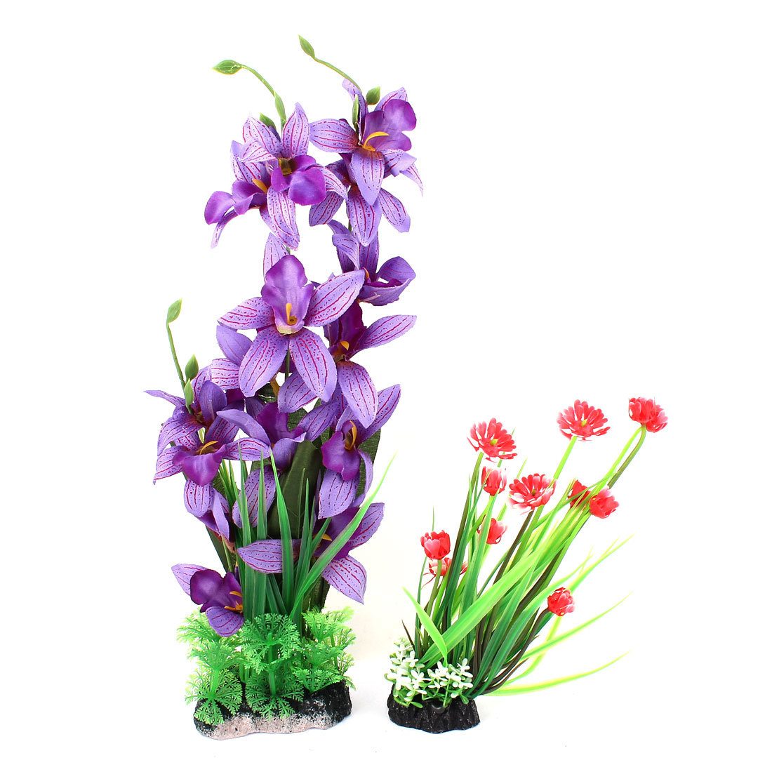 Green Purple Aquarium Simulation Decoration Aquatic Plants 2 PCS