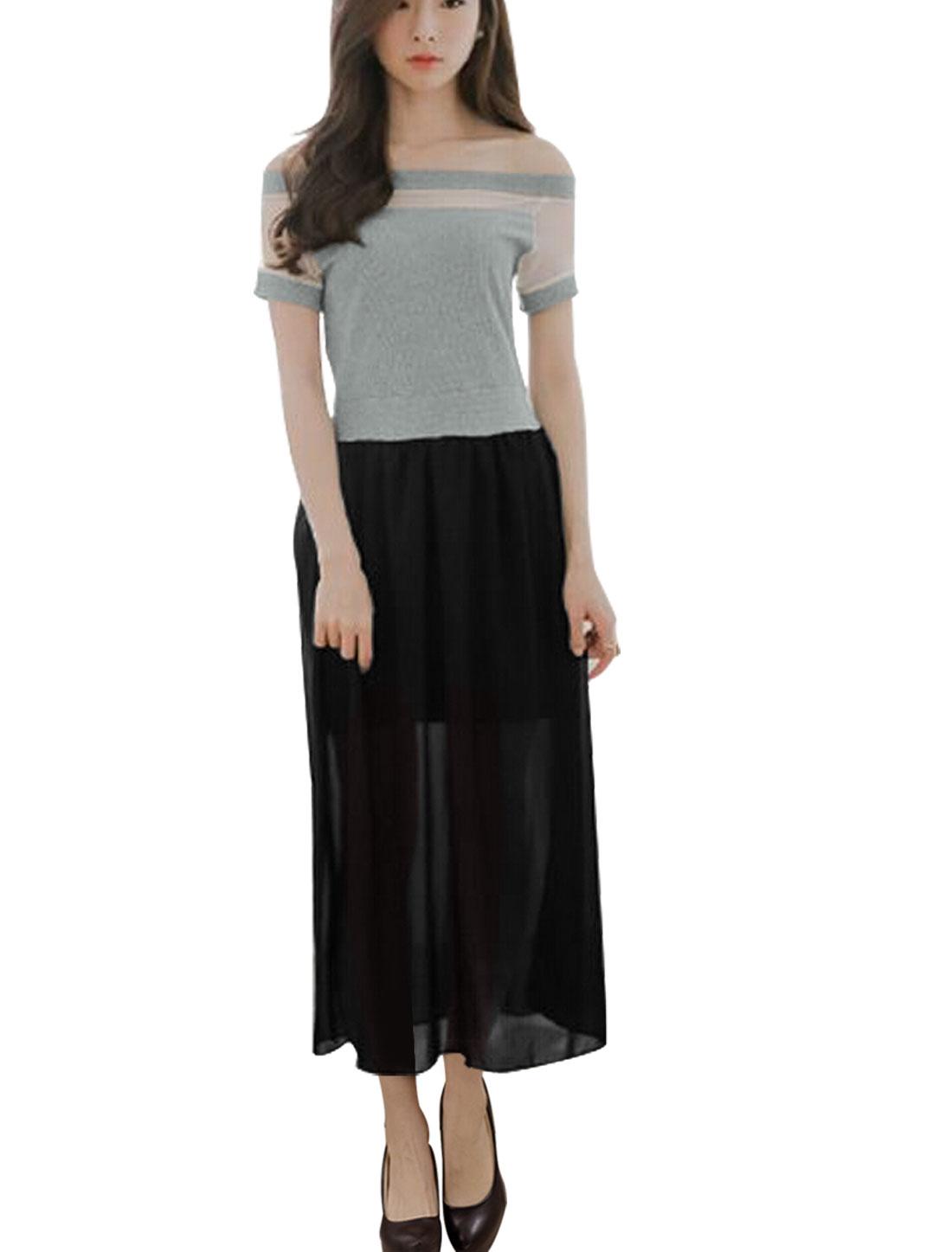 Women Off Shoulder Paneled Design Casual Midi Dress Black Light Gray M