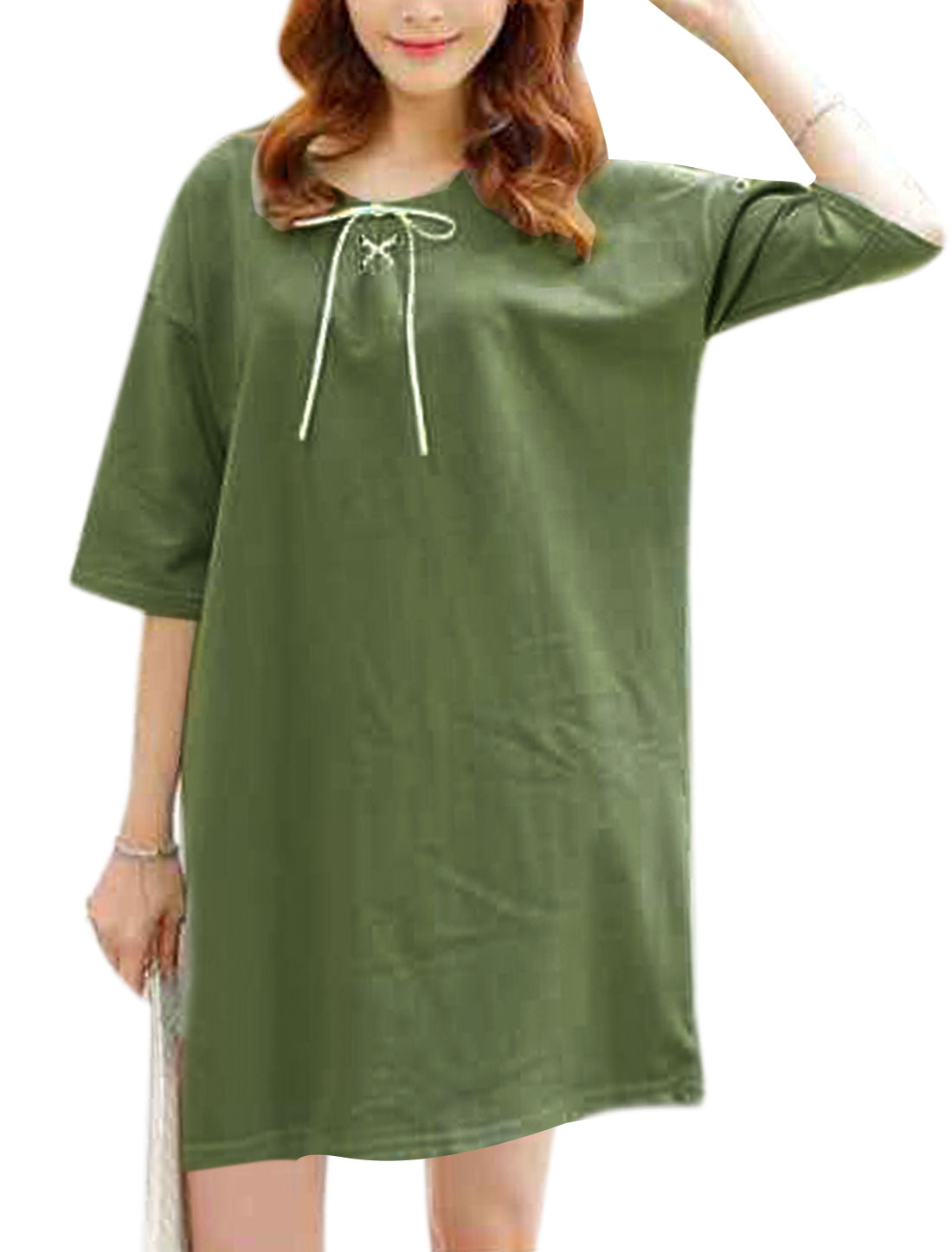 Women 3/4 Sleeves Drop Shoulder Lace-Up Front T-Shirts Dress Army Green S