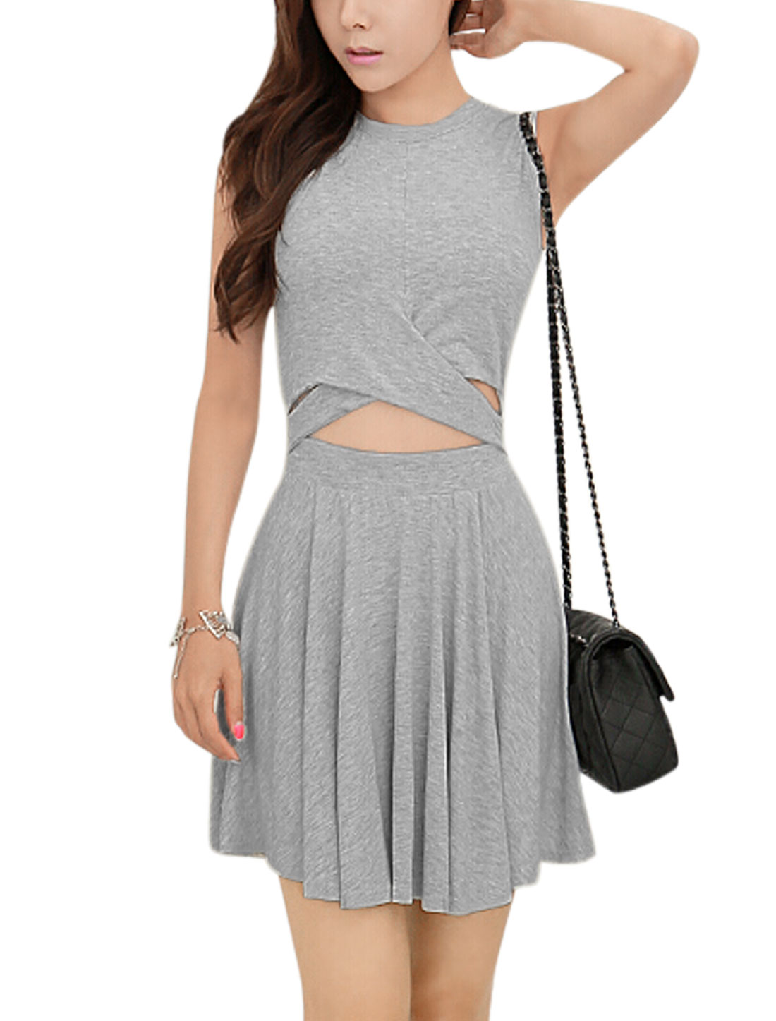 Women Round Neck Sleeveless Crossover Design A Line Dress Light Gray S