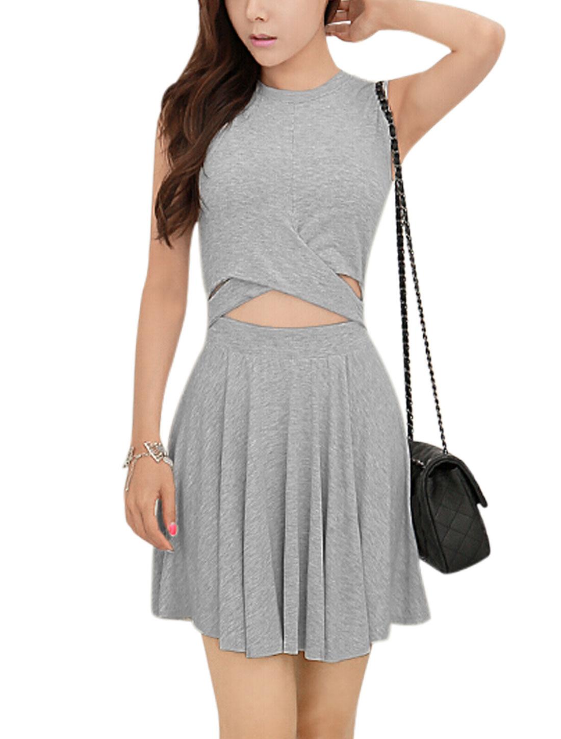 Women Round Neck Sleeveless Crossover Design A Line Dress Light Gray S