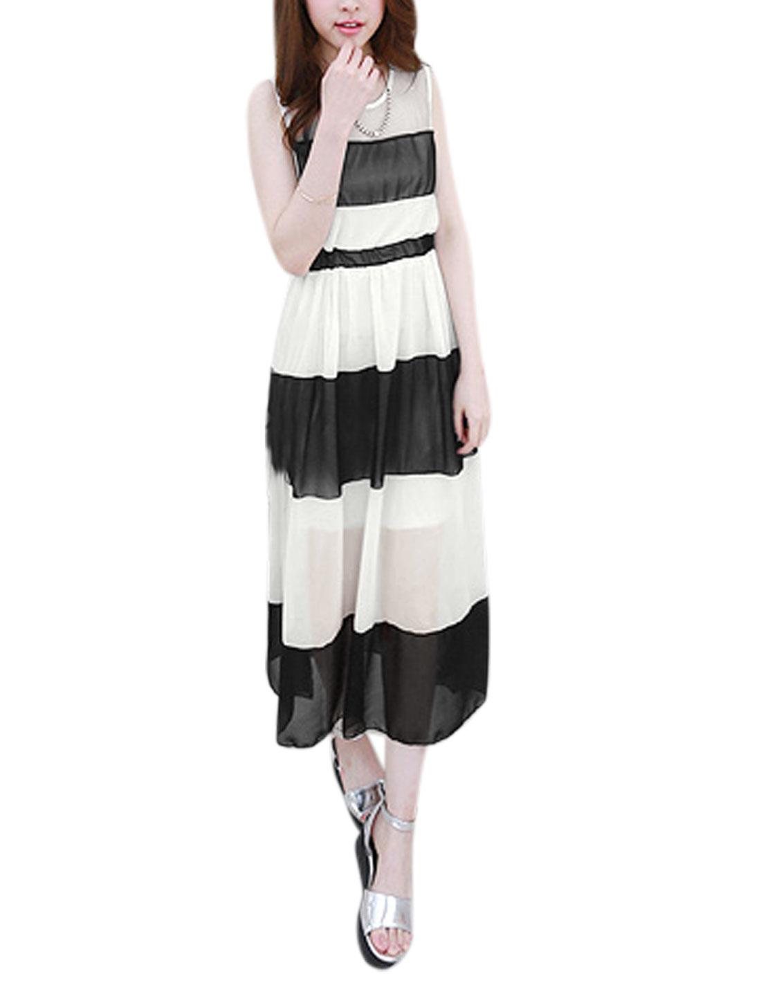 Women Round Neck Sleeveless Color Blocked Casual Dress Black White S