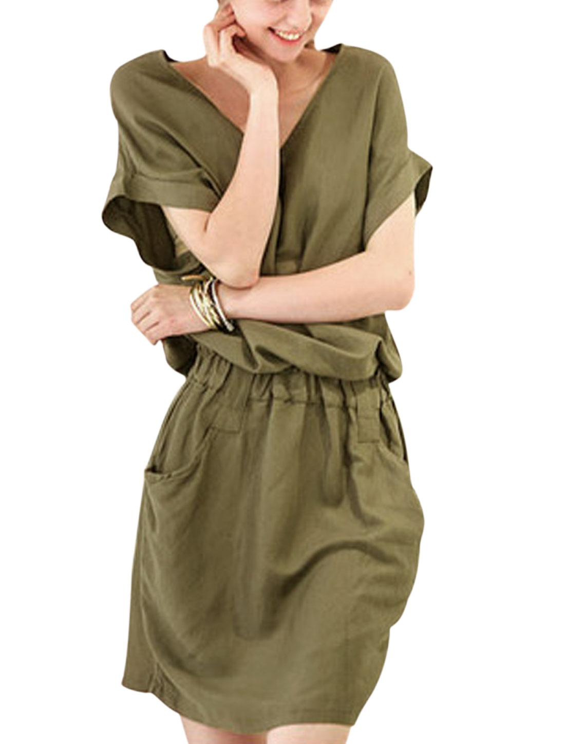 Ladies Short Sleeve Elastic Waist Front Pockets Casual Dress Army Green XS
