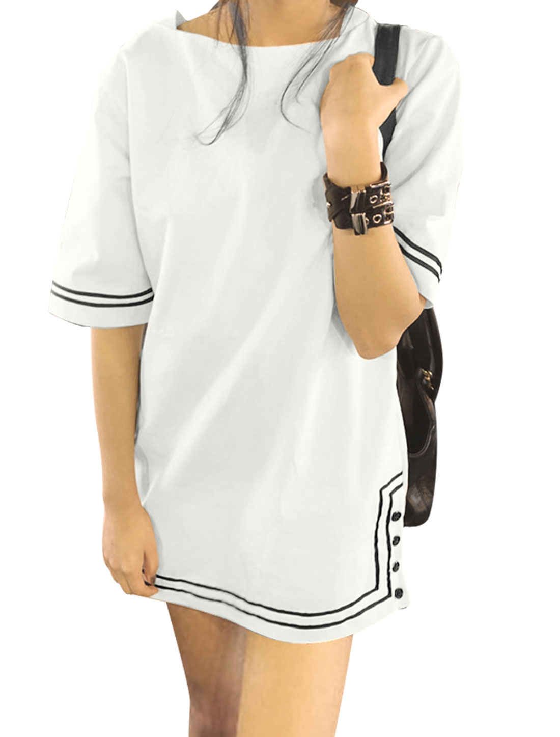 Ladies Elbow Sleeve Round Neck Stripes Unlined Casual Dress White XS