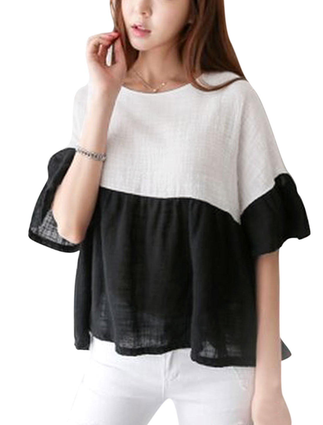 Ladies 3/4 Bell Sleeve Color Block Casual Blouse White Black XS