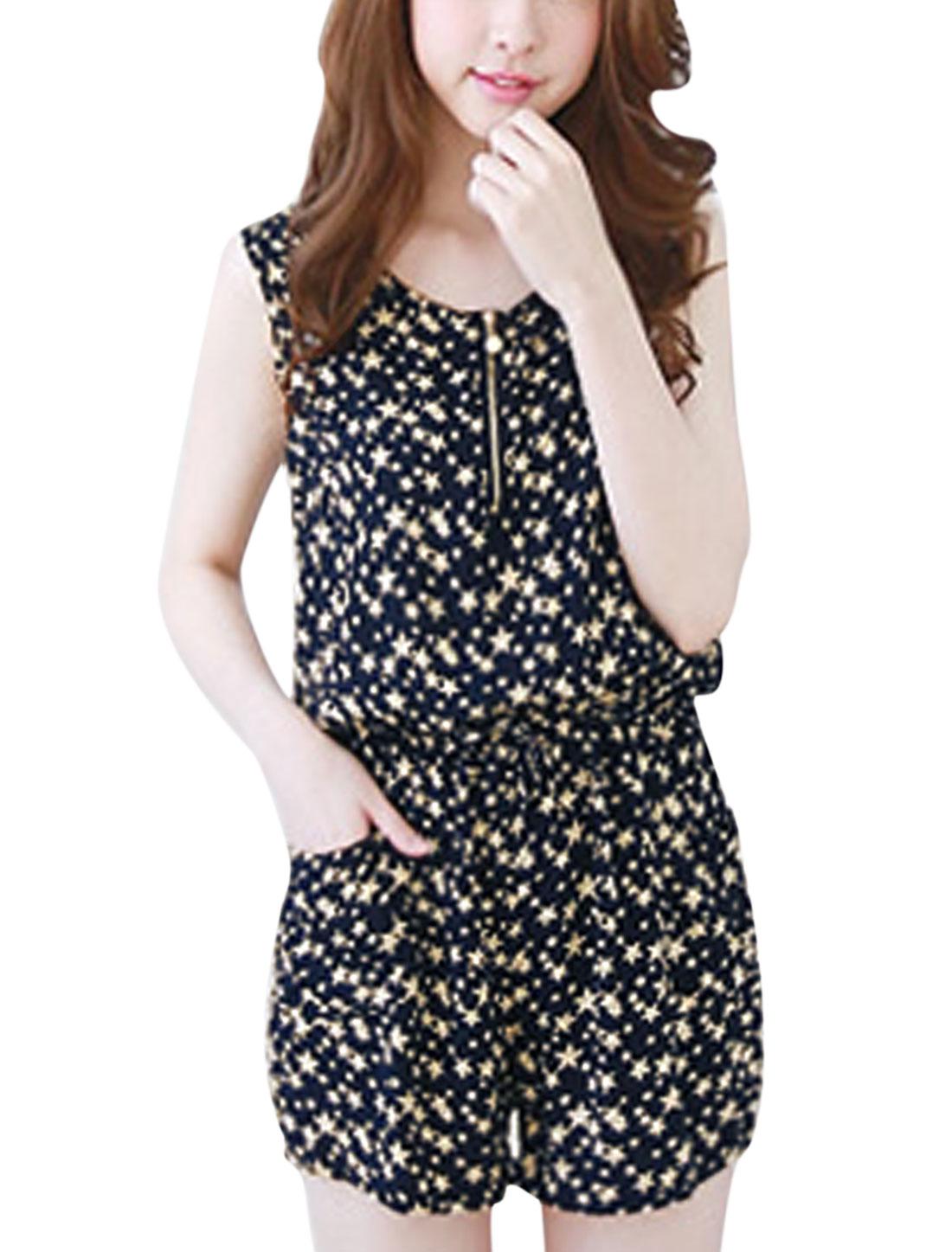 Women Stars Pattern Zip Closure Upper Sleeveless Casual Romper Black Beige XS