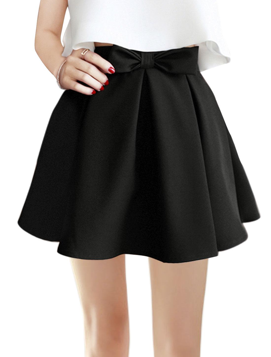 Women Natural Waist Bowknot Decor Pleated A Line Dress Black M