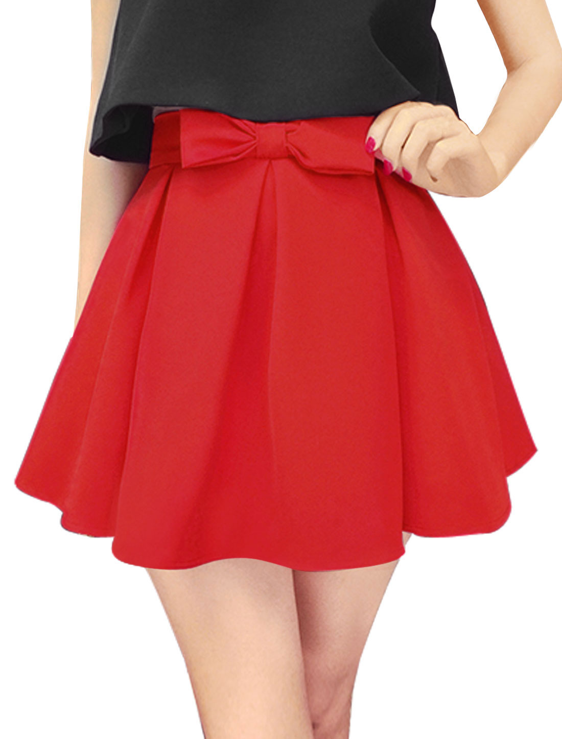 Ladies Natural Waist Fully Lined Bowknot Decor Pleated Skirt Red M