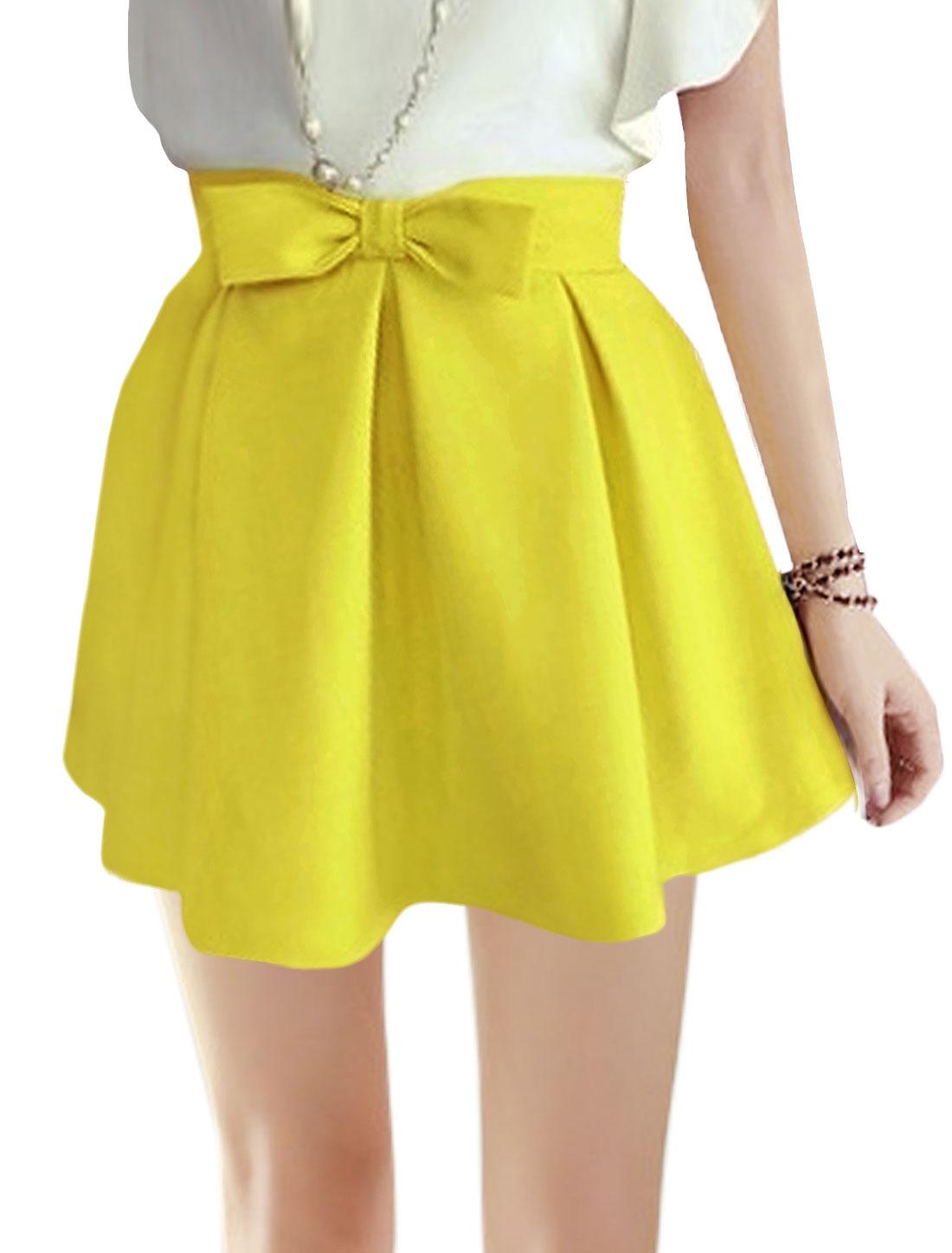 Lady Natural Waist Bowknot Decor Pleated Mini Skirts Yellow M