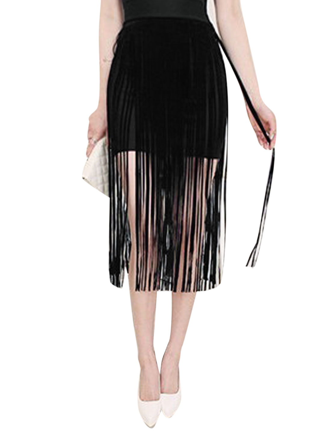 Women Stretchy Waist Band Unlined Fringed Pencil Skirt Black XS
