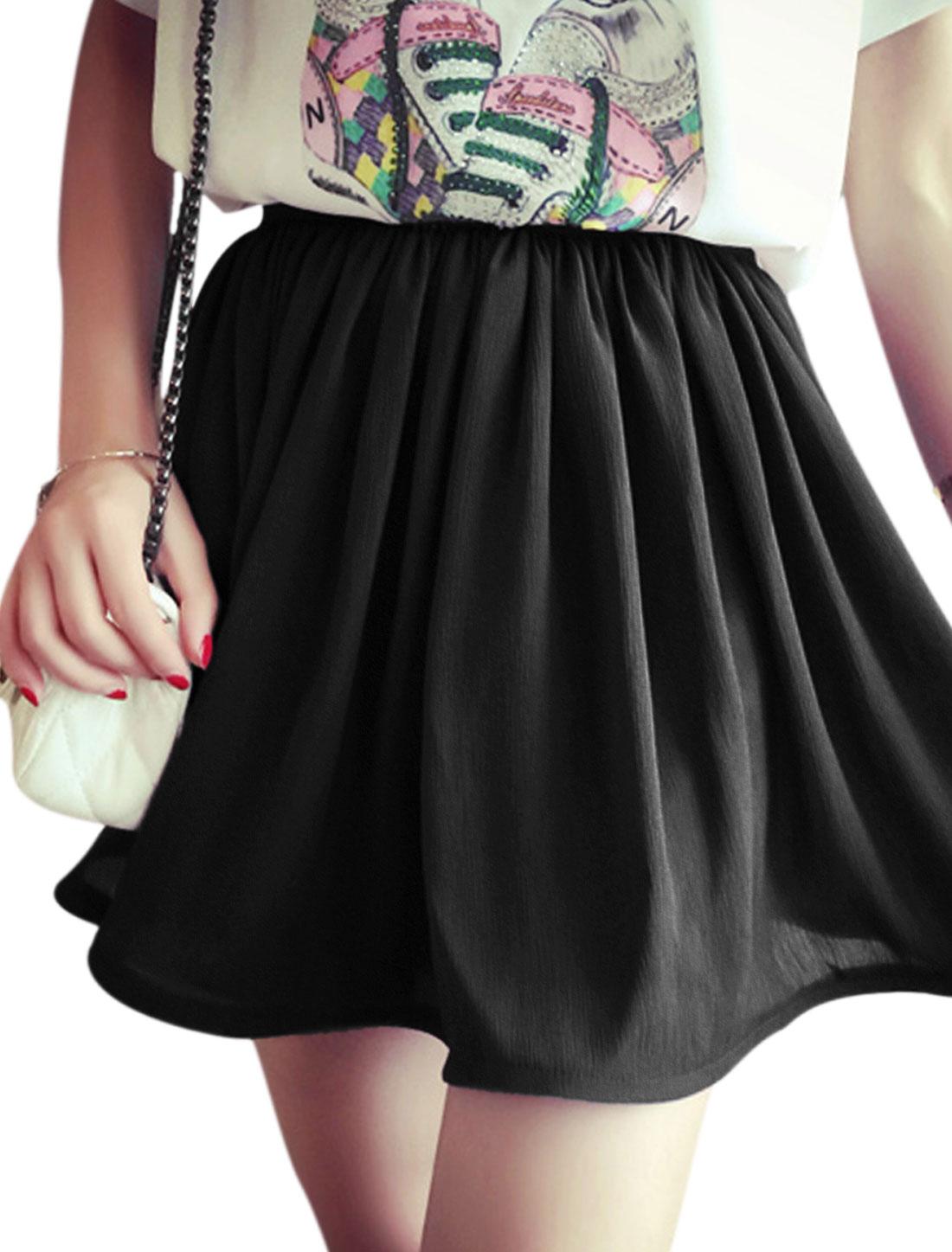 Women Mid Rise Elastic Waist Layered Casual Short Skorts Black XS