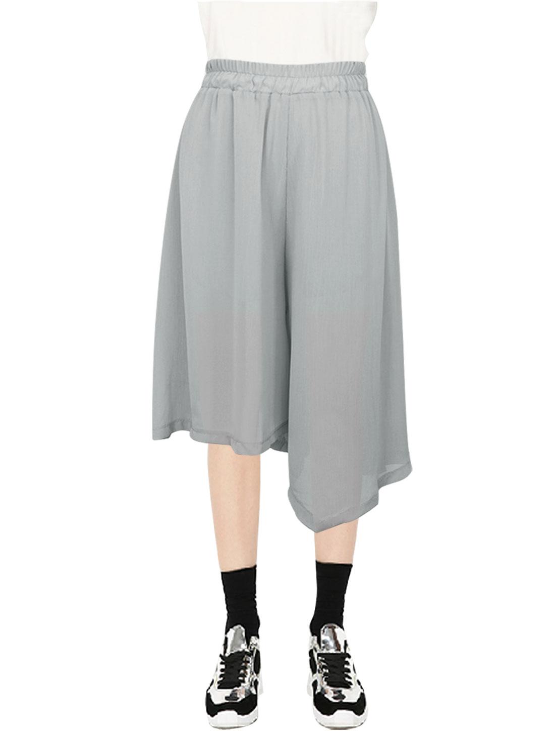 Women Elastic Waist Irregular Cuffs Design Capri Wide Leg Pants Light Gray XS