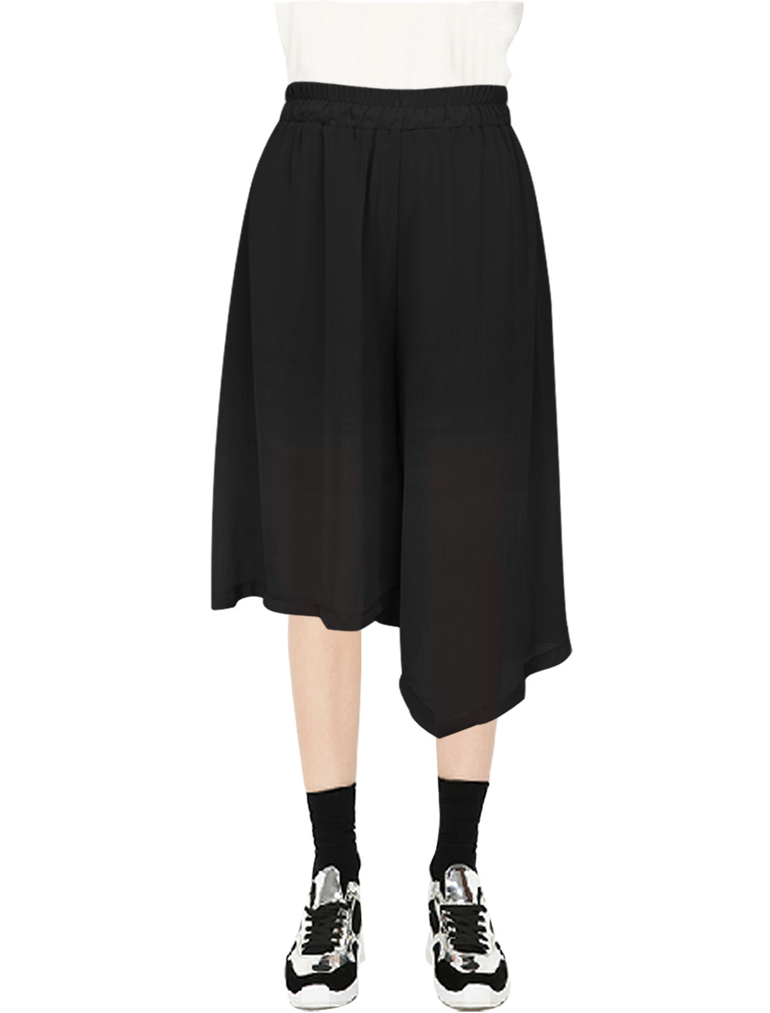 Ladies Elastic Cuffs Design Partially Lined Wide Leg Pants Black XS