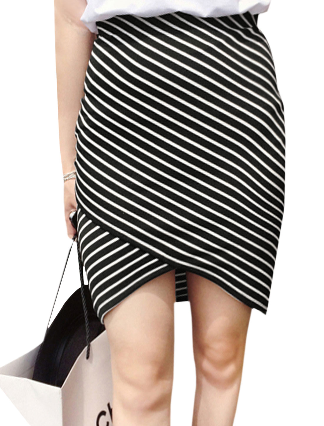 Women Crossover Hem Stripes Unlined High Waisted Skirts Black XS